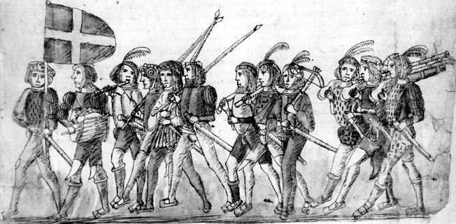 This period depiction of Swiss soldiers shows pikemen, crossbowmen, and hand-gunners.
