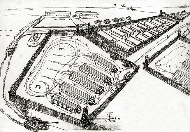Sims made this sketch of the prison camp where he was held through the fall, winter, and spring of 1944-1945.