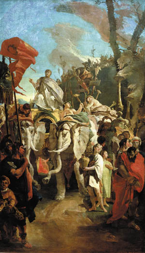 A triumphant Manius Curius Dentatus returns from Beneventum after defeating the Greek forces of Pyrrhus at the Battle of Beneventum in 275 BC.