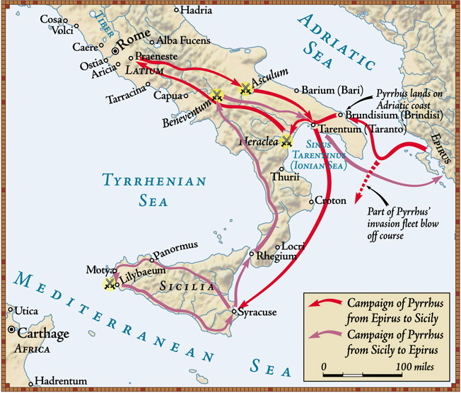 The steady growth of the Roman empire caused the Italians in the southern part of the country to call on Greek mercenary leader Pyrrhus to check the Romanb advance.