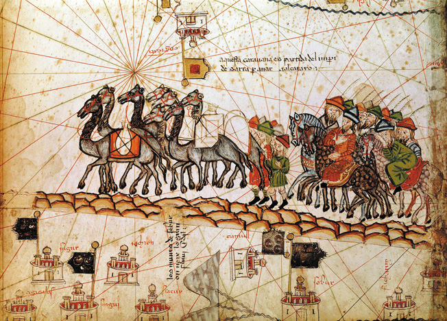 Italian traveler Marco Polo shown in this medieval painting leading his 13th-century caravan across Asia.