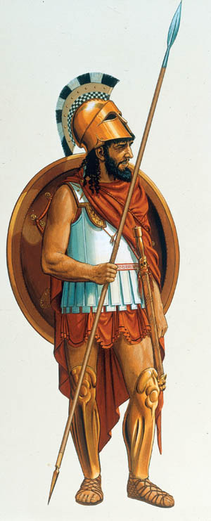 2-G60-S4-3 Spartan Hoplite / Watercol.by Connolly History / Antiquity / Sparta: - Spartan hoplite (c.500 BC), dressed with a Corinthian helmet, armour and greaves, armed with spear, sword and shield. - (Reconstruction). Watercolour by Peter Connolly (born 1935).
