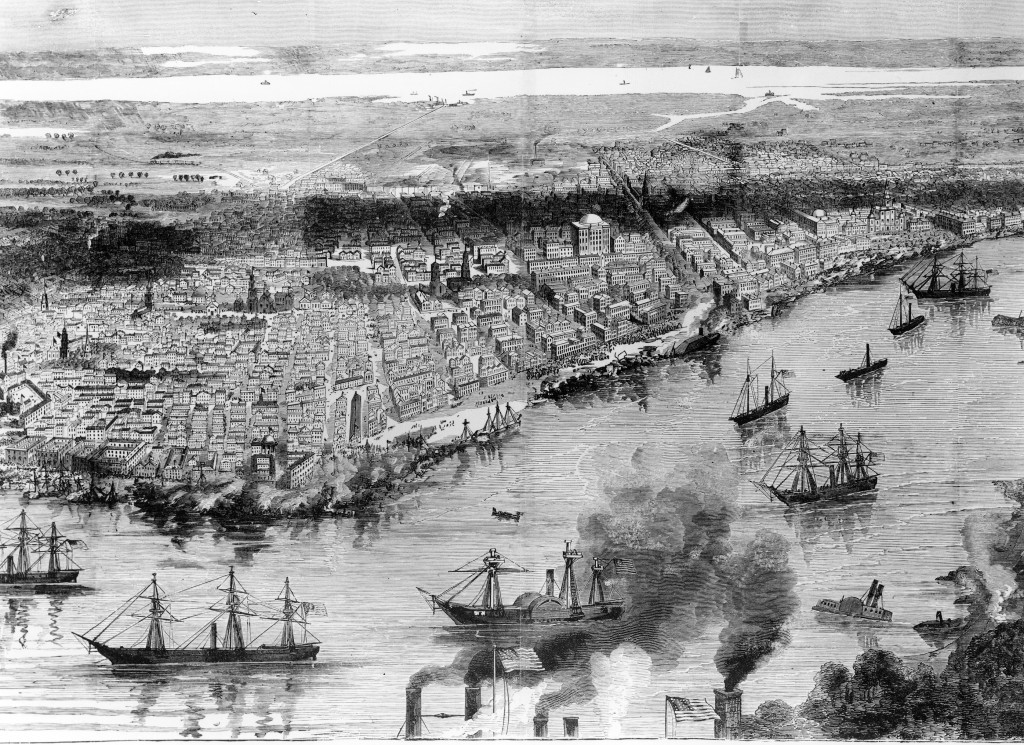 The federal fleet anchored at New Orleans the day after the battle. The Confederacy never regained its largest city.