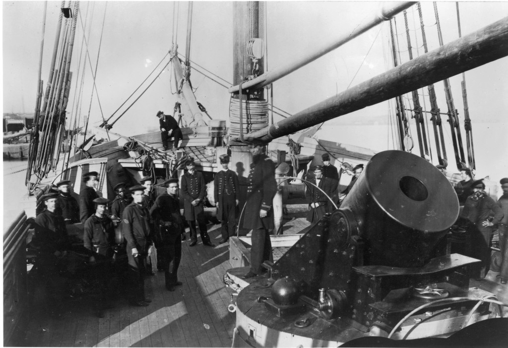 Union sailors surround one of Porter's massive guns aboard one of the fleet's mortar schooners.