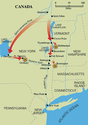 Burgoyne's plan to split the colonies had his main army marching south from Montreal to Albany where he would meet General Howe. The plan included a diversionary attack on Ft. Stanwix to the west.