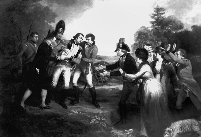A mortally wounded General Fraser met by Riedesel and his wife.