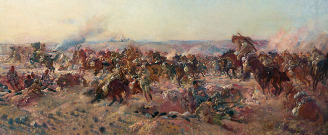 Australian horsemen overrun the Turkish trenches at Beersheeba. The Ottoman trenches on the town's eastern side were discontinuous and without wire, which made them particularly vulnerable to a sudden and overwhelming attack.