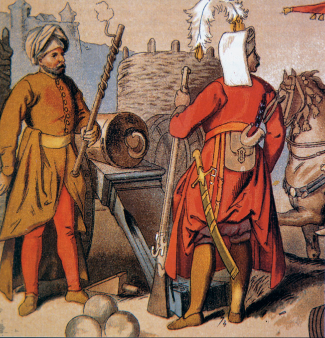 """Elite Turkish troops included an Ottoman artillerist, left, and a Janissary, or """"head-risker."""" Most Turkish soldiers were poorly trained rabble from the provinces."""