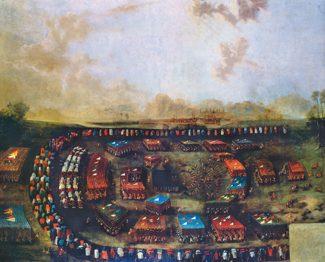 This 17th-century painting shows the brightly colored Ottoman army massing for battle. Turkish armies typically included thousands of camp followers.
