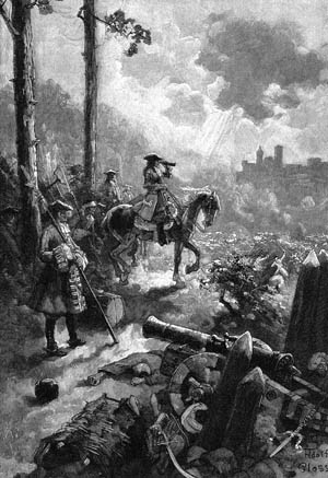 """Eugene of Savoy (1663-1736), Imperial General, in the Battle of Belgrade. August 16, 1717, engraving by Gustav Adolph. 19th century, Turkish Wars. ©Mary Evans / The Image Works NOTE: The copyright notice must include """"The Image Works"""" DO NOT SHORTEN THE NAME OF THE COMPANY"""