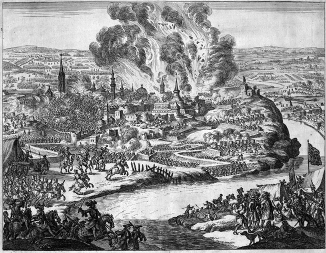 Smoke and flames envelop Belgrade during the month-long siege. Thirty thousand Turkish troops under Mustafa Pasha held out, hoping reinforcements would arrive in time.