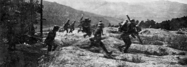 German machine gunners in full flight from American troops in Belleau Wood.