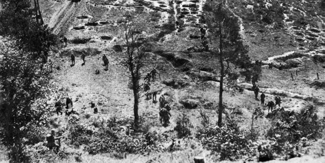 German troops filter through Belleau Wood, on old hunting preserve near the vital Paris-Metz road.