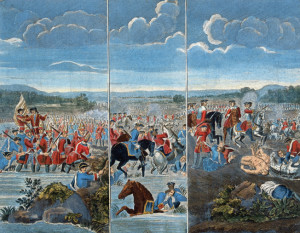 Three panels by Louis Laguerre depicting the Battle of Blenheim. Left to right: attack on the village of Blenheim; French infantry in the center of the field; Prince Eugene of Savoy attacking the French left.