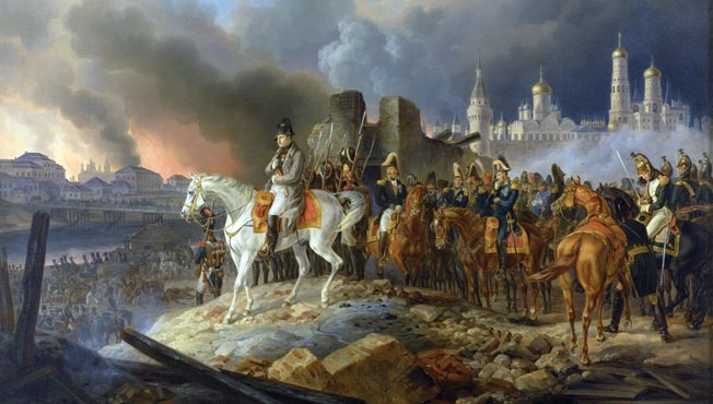 Napoleon arrives in Moscow to find it aflame and bereft of supplies. He failed to destroy the Russian army and had greatly underestimated Tsar Alexander's political resolve.
