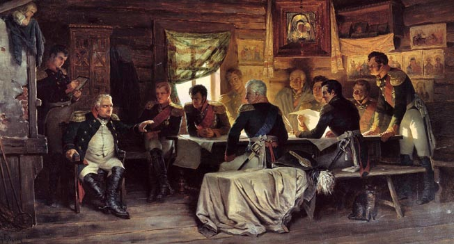 Marshal Mikhail Kutuzov conducts a council of war in a peasant's cabin. Tsar Alexander, who detested the elderly commander, appointed him to overall command because he was widely popular with the Russian people and soldiers.