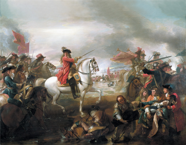 WST198827 #70 Battle of the Boyne in 1690, 1778 (oil on canvas) by West, Benjamin (1738-1820)  Private Collection  REPRODUCTION PERMISSION REQUIRED  American, out of copyright  PLEASE NOTE: The Bridgeman Art Library works with the owner of this image to clear  permission. If you wish to reproduce this image, please inform us so  we can clear permssion for you.