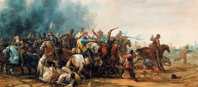 """The Swedes won a decisive victory with their innovative tactics at Breitenfeld in Saxony. -------------------- D: -------------------- P.Meuleneer, Reiterschlacht Meuleneer, Pieter 1602-1654. """"Reiterschlacht"""", 1650. Oel auf Eichenholz, 53 x 80 cm. Ehemals Sammlung Nostitz. Prag, Narodni Galerie (Nationalgalerie). -------------------- E: -------------------- P.Meuleneer, Cavalry Battle Meuleneer, Pieter 1602-1654. """"Cavalry Battle"""", 1650. Oil on oakwood, 53 x 80 cm. Formerly Nostitz Collection. Prague, Narodni Galerie (National Gall)."""