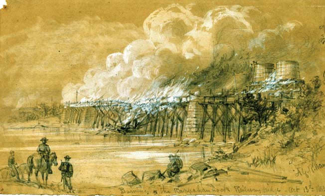 Even though the Confederates are most often associated with bridge burnings, the Yankees burned the railroad bridge over the Rappahannock River during the Bristoe Campaign.