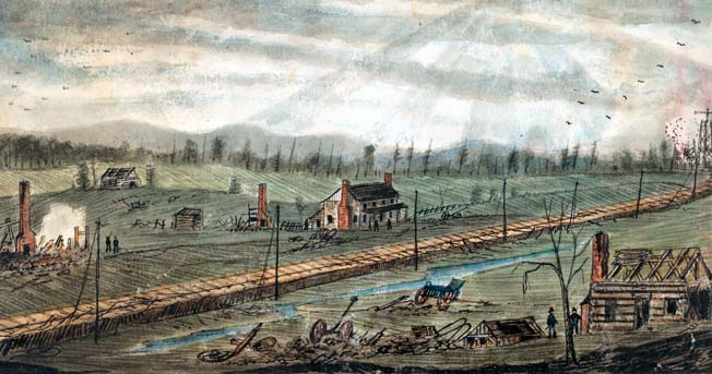 A sketch of Bristoe Station made in 1862 shows that many of the buildings had been burned to the ground during the Second Manassas Campaign.
