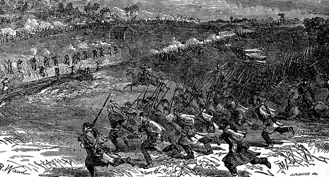 Union troops shown move at the double quick to take up a strong position behind the railroad embankment at Bristoe Station. Union musketry shattered Confederate charges during the heated engagement.
