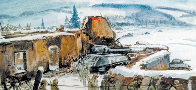 This haunting image of a snow-covered Bastogne was painted by a U.S. Army artist about the time of the siege in December 1944. U.S. forces refused to evacuate the Belgian crossroads town and stood against repeated German attacks.