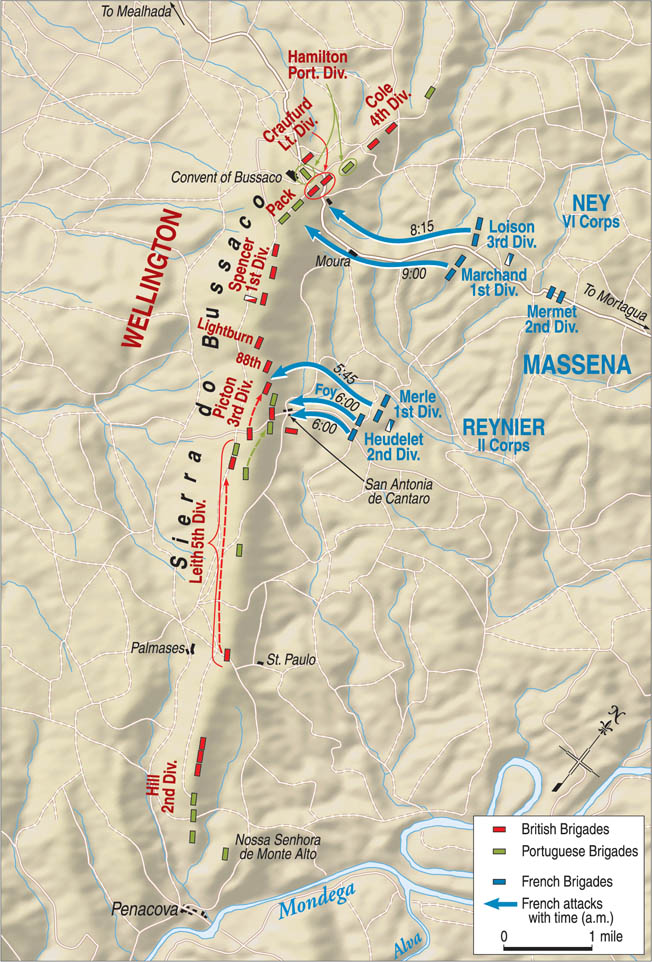 The weight of Marshal Massena's frontal attack fell on the Anglo-Portuguese left and center. Despite the drubbing the French took at Bussaco, Massena still had more than enough men to continue his invasion of Portugal.