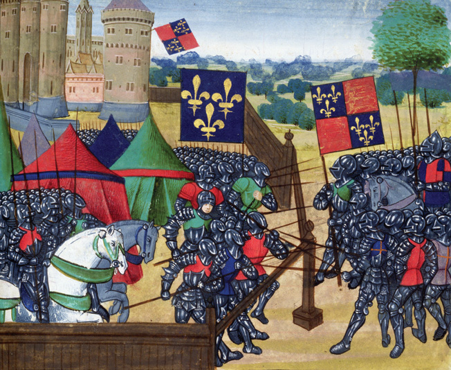 The siege of Castillon, illustrated by Jean Chartier in a late 15th-century account of the life and times of French King Charles VII.