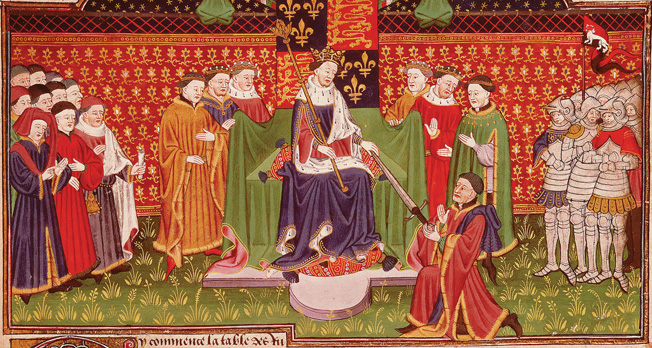 In happier days, King Henry VI invests John Tallbot with the sword of office as constable of France in 1436. From an illuminated manuscript of the era.