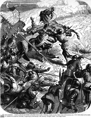 A 19th-century view of Lord  Tallbot's death on the banks of the Dordogne River. His brilliantly caparisoned horse made him a sitting target.