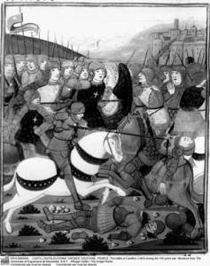 Stylized image of the Battle of Castillon, from a miniature taken from the Chroniques d'Enguerrand de Monstrelet.