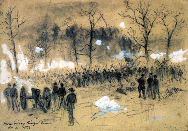 Battlefield artist Alfred R. Ward depicts Brig. Gen John Corse's ill-fated attack on the Confederate right at Tunnel Hill on November 25.
