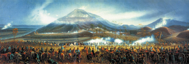 In this highly romanticized 19th century painting, Maj. Gen. Joseph Hooker, riding a white horse in the center, directs massed artillery fire on Rebel positions on Lookout Mountain.