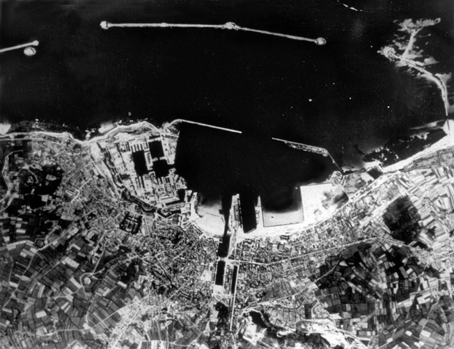 8th June 1944: An aerial view of Cherbourg Harbour soon after D-Day. (Photo by Hulton Archive/Getty Images)