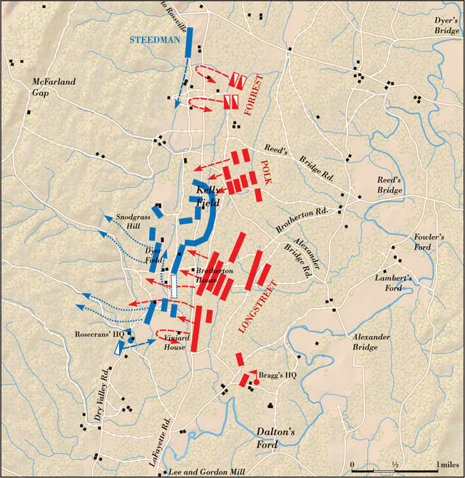 "The Battle of Chickamauga was essentially a battle for control of the LaFayette Road to Chattanooga. If the Confederates could turn the Union left, they would trap the entire enemy army in the thick woods of northwest Georgia. ""Strengthen the left,"" Thomas endlessly advised."