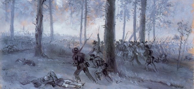 Patrick Cleburne's bark-tough Confederates advance at twilight on the first night of the battle. Encroaching darkness halted the fighting when men on both sides could only fire at muzzle flashes and sounds.
