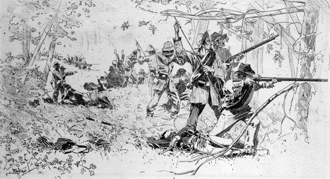 Confederate troops load and fire into the thick underbrush around Chickamauga Creek, which gave the battle its name.