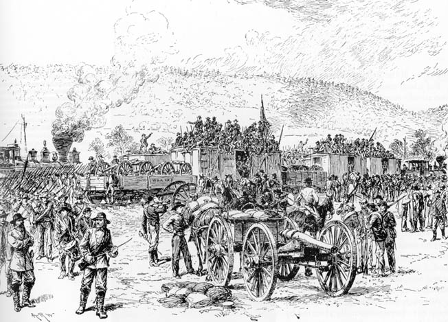 Lt. Gen. James Longstreet's troops disembark from various railroad cars after arriving at Ringgold Station from Virginia on the afternoon September 19 to reinforce Bragg.