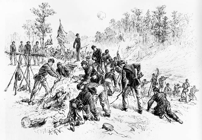 Soldiers of Major General Winfield Scott Hancock's II Corps dig frantically with bayonets, tin plates, and bare hands to create earthworks before a Confederate countercharge.