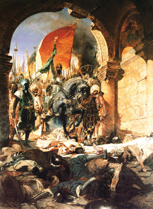 Sultan Mehmet leads a procession of viziers, imams, and generals into the captured city at the end of the 53-day siege.