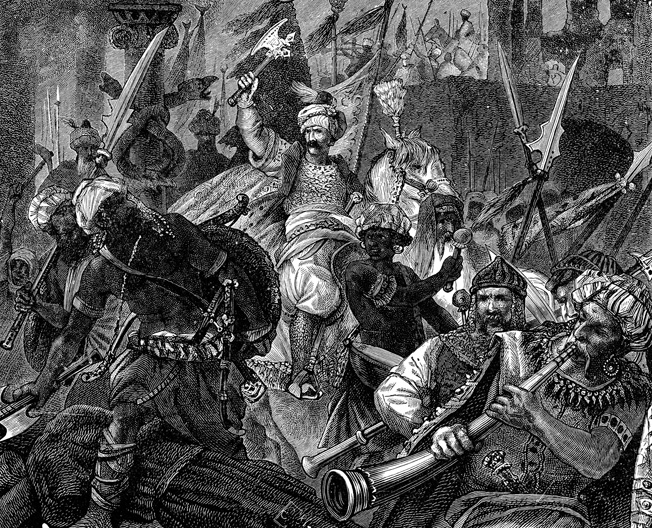 Sultan Mehmet II enters Constantinople in a romantic depiction of its fall. The city fell when Karaja Pasha's men found an undefended passage and streamed into the city.