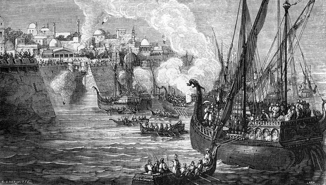 When his fleet was unable to enter the Golden Horn, the sultan ordered his troops to haul the Ottoman galleys overland. In the final assault, they forced open the sea gates.