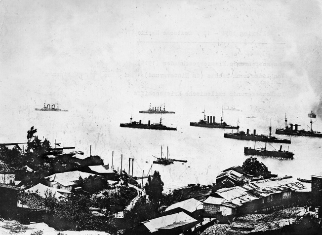 WWI: CHILE, 1914.  The ships Scharnhorst, Gneisenau and N¸rnberg of the German East Asia Squadron leaving the Valparaiso harbor in Chile, after the Battle of Coronel. Photograph, 1914.