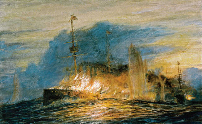 "Rear Admiral Cradock's flagship, HMS Good Hope, British Drake-class armoured cruiser, launched 1901, on fire before blowing up at the Battle fo Coronel. November 1, 1914. © National Maritime Museum, London / The Image Works NOTE: The copyright notice must include ""The Image Works"" DO NOT SHORTEN THE NAME OF THE COMPANY"