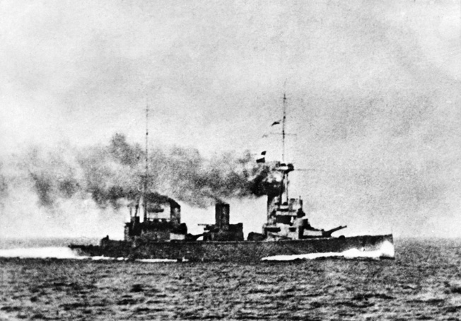 "Chile: November 1, 1914. Scene during the Battle of Coronel, off the coast of Chile during the First World War, showing an unidentified ship. ©Robert Hunt Lbry / Mary Evans / The Image Works NOTE: The copyright notice must include ""The Image Works"" DO NOT SHORTEN THE NAME OF THE COMPANY"