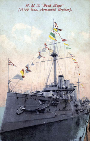 "British Drake class armoured cruiser HMS 'Good Hope', 1907. Launched in 1901, HMS 'Good Hope' was sunk with all hands off the Chilean coast at the Battle of Coronel on 1 November 1914. ©The Wentworth Collection / Heritage-Images / The Image Works NOTE: The copyright notice must include ""The Image Works"" DO NOT SHORTEN THE NAME OF THE COMPANY"