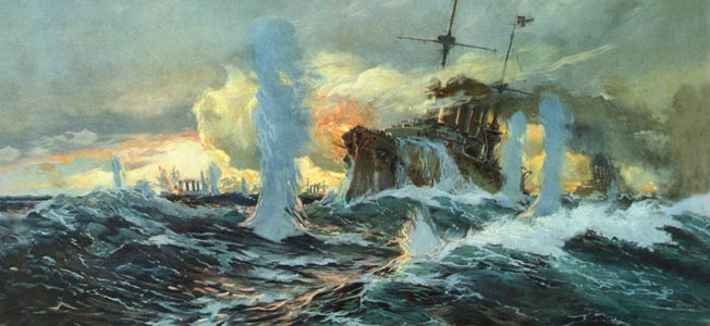 WWI: BATTLE OF CORONEL. The German East Asia Squadron at the Battle of Coronel off the coast of Chile. Painting, c1914. Full credit: Archiv Gerstenberg - ullstein bild / The Granger Collection.