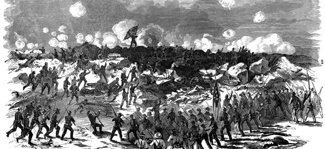 Men of the 2nd Division, IX Corps, rush into the maelstrom of the Crater. Furious Confederate defenders took few prisoners, seeing the mine explosion as a particularly underhanded tactic.