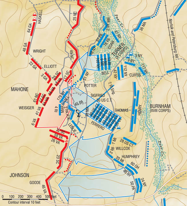 Following the explosion at the Crater, the main Union thrust in the center was blunted by a  spirited counterattack organized by Brig. Gen. William Mahone. Confederate defenders tossed abandoned muskets like javelins into the Union ranks. By 1:30 the battle was over.