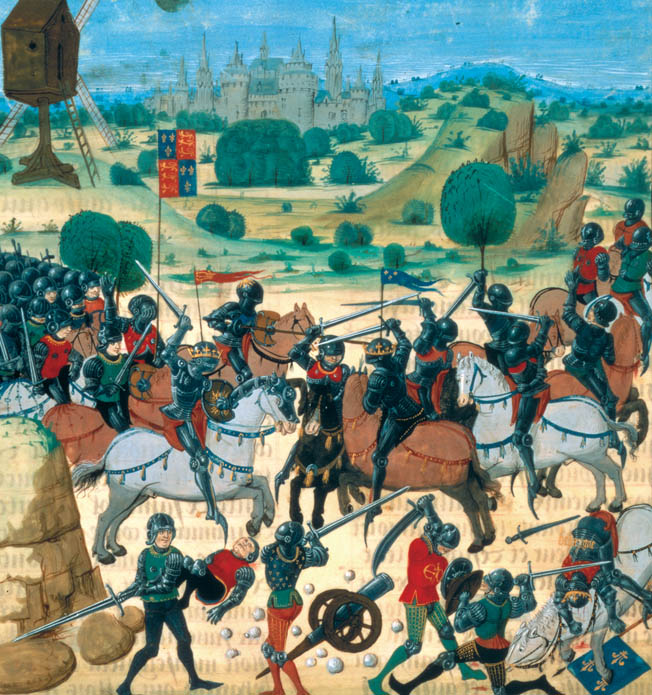 Although this period image shows hand-to-hand fighting, only a small number of French knights reached the English line through the dense fire of the archers.